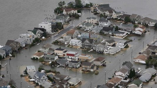 Superstorm Sandy was not the reason Ocean County was identified as the most dangerous county in the U.S. This aerial photo shows flooding caused by Sandy on the bay side of Seaside Heights.
