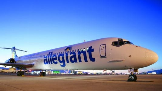An Allegiant Air plane at McCarran International Airport in Las Vegas.