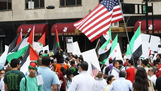 Hundreds gathered on Fountain Square in support of Palestine.