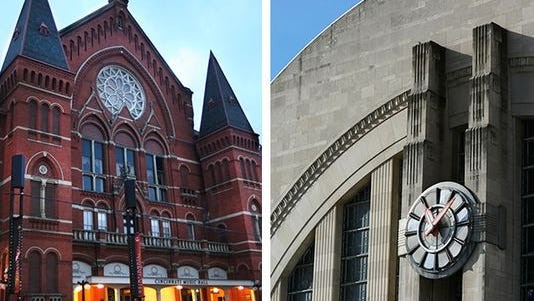 Music Hall,left, and Union Terminal, right