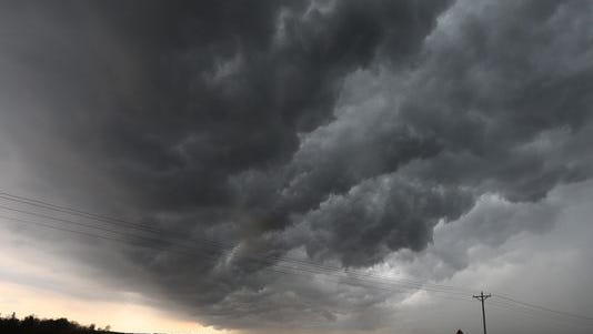 Dark clouds form near Forest City during a severe storm on May 8.