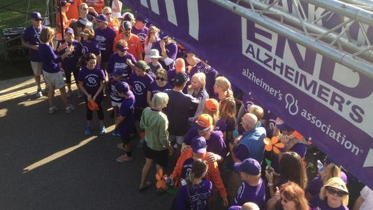 Participants at the Colorado Alzheimer's Association's Walk to End Alzheimer's.