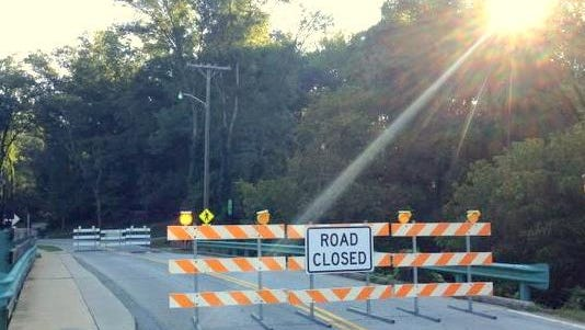 The Wooldand Way bridge is closed to auto traffic.