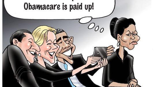 """And the winner is, Kevin Larison, Cincinnati, OH - """"He'd better hope his Obamacare is paid up!""""  Runners up: Ken Harlan, Carmel, IN - """"Guess who's sleeping on the couch by his selfie.""""  Mike Dale Stout, Colorado Springs, CO - """"I'm positive this photo is going to be negative.""""  Bob Karalus, East Hampton, CT - """"Mr. President....Put up those walls."""""""