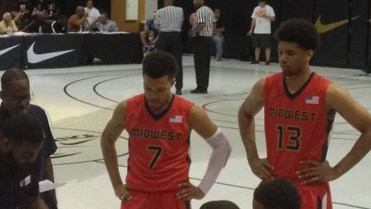 Lincolnshire (Ill.) Stevenson point guard Jalen Brunson (No. 7), a Purdue recruiting target, recently help USA Midwest to a third-place finish at the Nike Global Challenge.