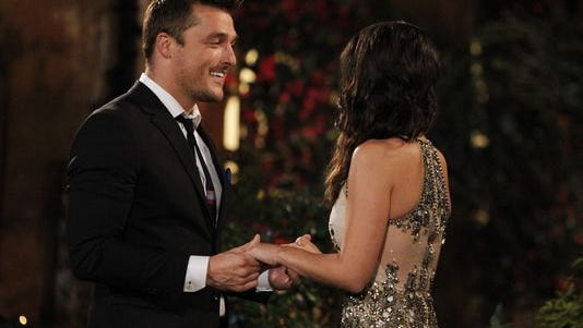 """Chris Soules, left, one of the bachelors on this season of """"The Bachelorette,"""" meets Andi Dorfman for the first time."""