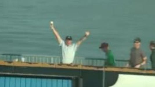 Marty Gregor caught his son's first home run at a Cedar Rapids Kernals game over the weekend