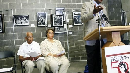 Former Freedom Rider and honorary chairman of the Mississippi Freedom Summer 50th Anniversary Conference Hank Thomas, right, discusses the importance of the Freedom Summer 50th Anniversary conference at Tougaloo College in Jackson, Miss., Wednesday, June 25, 2014.