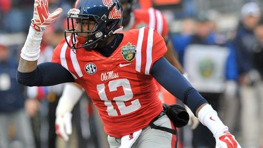 Ole Miss defensive back Tony Conner celebrates a sack against Georgia Tech in the Music City Bowl.