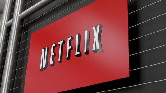 The Netflix company logo at Netflix headquarters in Los Gatos, Calif.