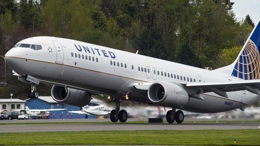This undated photo shows Boeing's 8000th 737 flying in the colors of United Airlines.