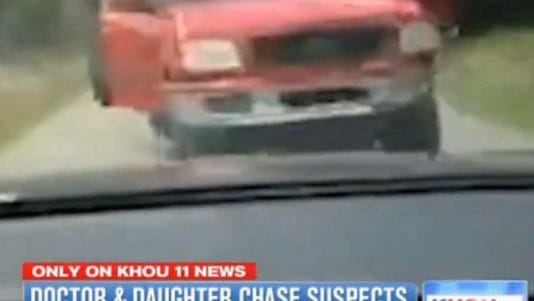 A photo taken from video shows a vehicle allegedly used in a burglary.