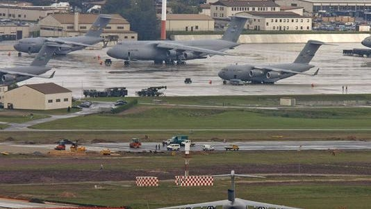 Airplanes stand on the U.S. air base in Ramstein, Germany in this file photo from 2006.