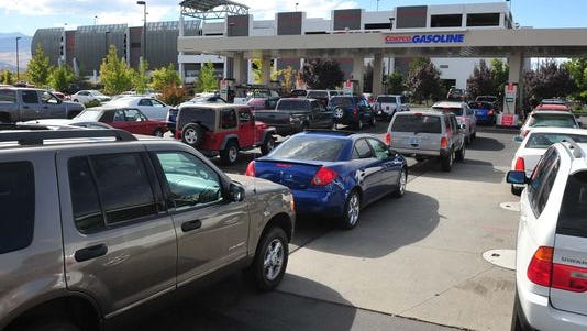 Cars crowded into the Costco gas station on Harvard Way in 2012 to pay $4.09 for a gallon of regular gas.