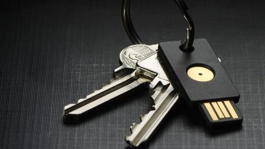 A YubiKey, a fob which contains a strong computer password for logging into secure networks. Made by Yubico, a Palo Alto, Calif.-based company.