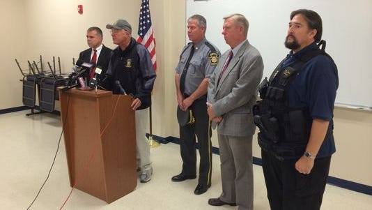 State Police Commissioner Frank Noonan addresses the media on Sept. 13, 2014, in Blooming Grove, Pa. Two troopers were ambushed outside a state police barracks in northeastern Pennsylvania during a late-night shift change, leaving one dead and the other injured.