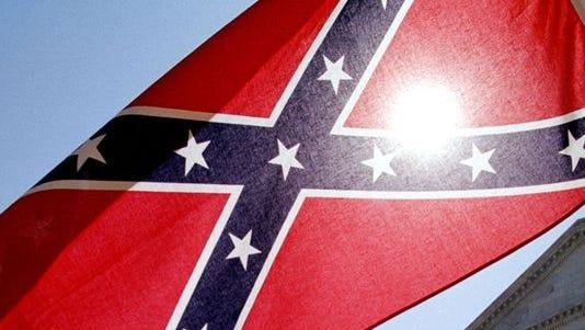 A Confederate battle flag.