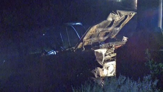 A car overturned and caught fire on westbound Route 370 at Truman late Tuesday night.