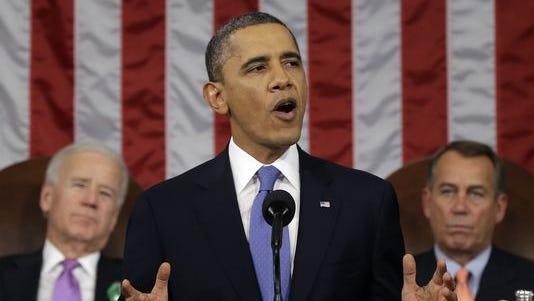 President Obama, flanked by Vice President Joe Biden and House Speaker John Boehner, during last year's State of the Union address.