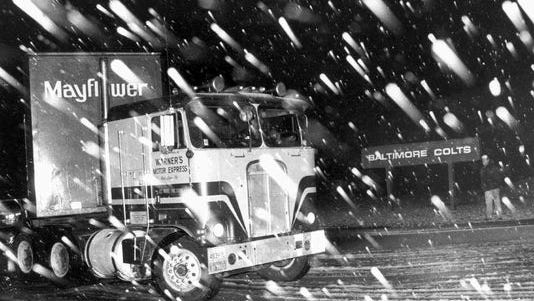 A moving van carrying Baltimore Colts's equipment leaves Baltimore to Indianapolis in the middle of the night on March 19, 1984.