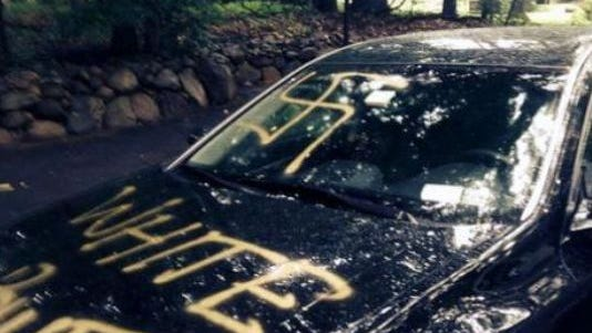 Facebook photos showing graffiti at a Pearl River home on Sunday, July 27, 2014.