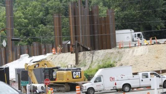 Steel piles along the Thruway in South Nyack being driven into the ground on July 16, 2014.