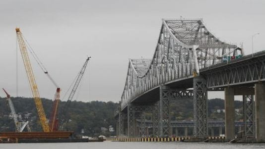 Work on the new Tappan Zee Bridge continues alongside the present span.