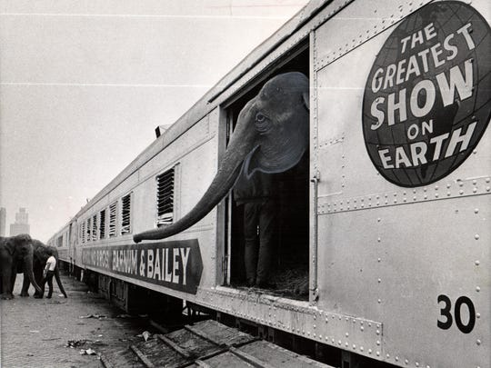 It's out of the circus train and on to another town and another show. The Ringling Bros. crew arrived for a five-day stint at Coco Arena in Aug. 28, 1970.