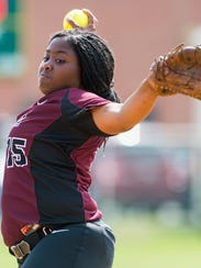 Nandua pitcher D'errica Toppin (15) throws to a Cape