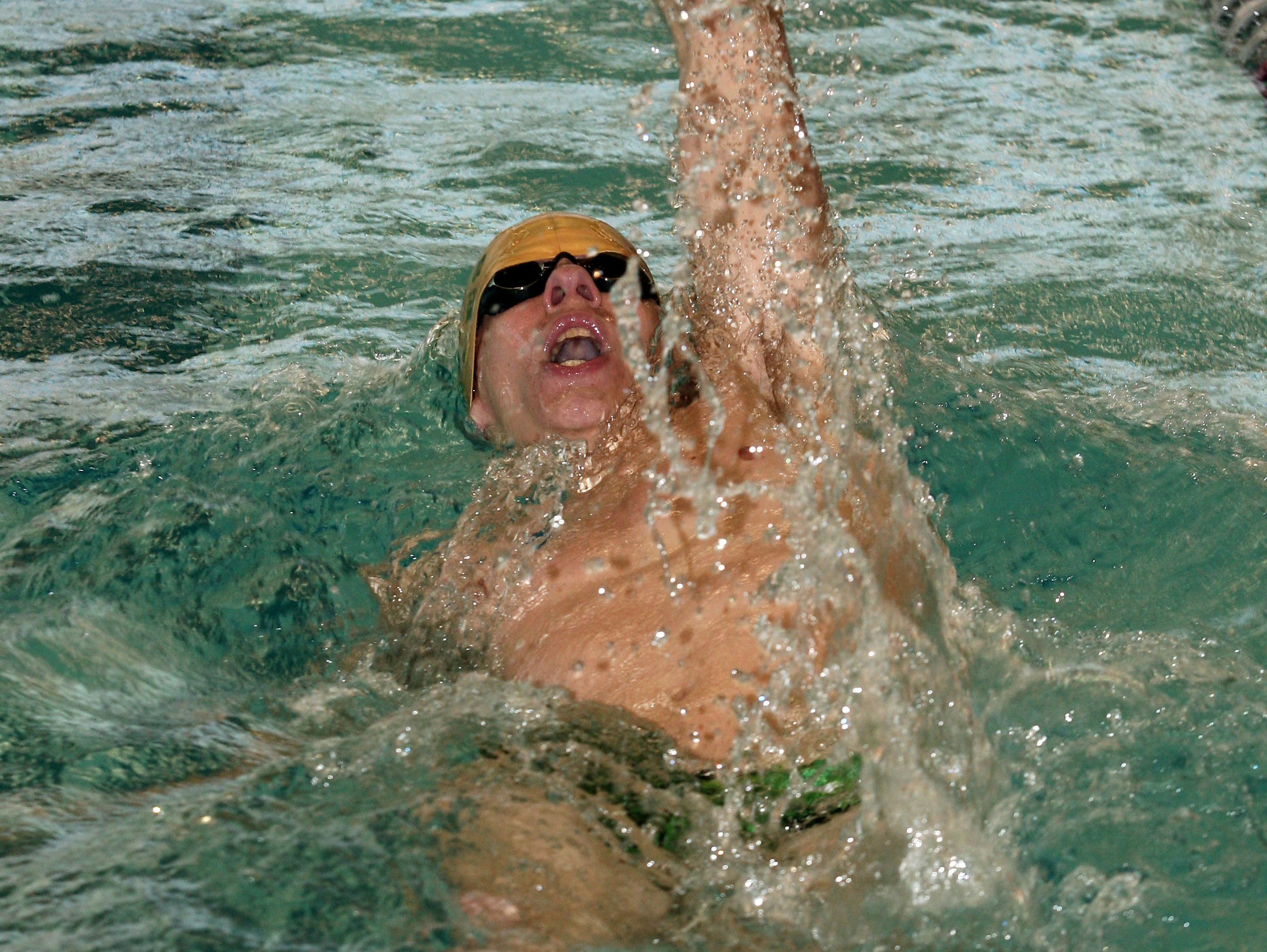 Morris Knolls' Michael Stiles swims the backstroke during the boys 200 Individual Medley vs. Randolph on Jan. 28 at the County College of Morris.