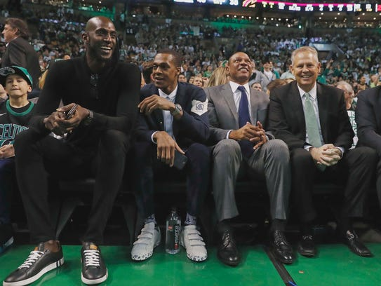 Former Boston Celtics (left to right) Kevin Garnett,