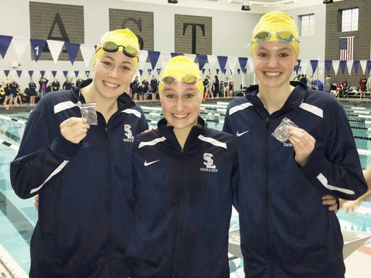 South Lyon Unified's (from left) Emily Kurt, Lindsay Boals and Emerson Ramey took the first three places in the 50-yard freestyle.