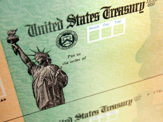 Blank federal income tax refund check
