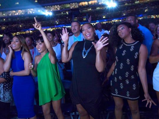 From left, Regina Hall,  Jada Pinkett Smith, Queen