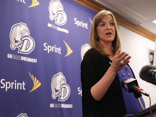 Jennie Baranczyk speaks to the media during a press conference announcing her as Drake's new women's basketball coach April 17, 2012.