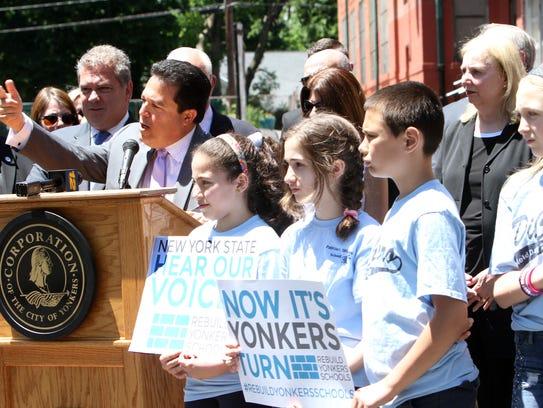 Yonkers School Superintendent Edwin Quezada speaks