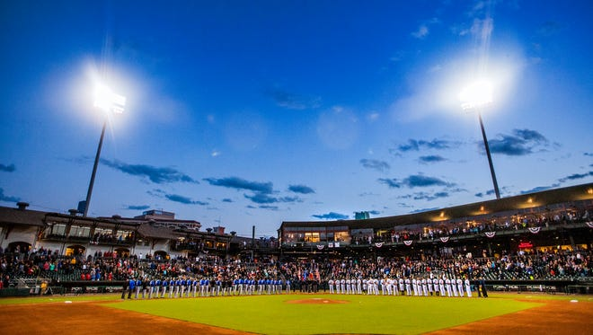 Montgomery Biscuits opening night at Riverwalk Stadium in Montgomery, Ala., on Thursday April 6, 2017.