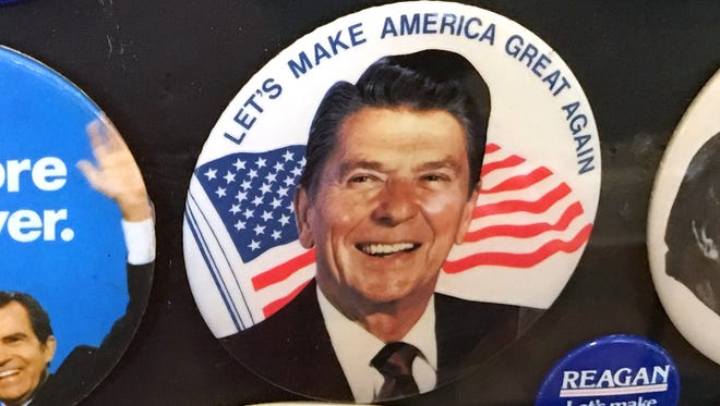 A Ronald Reagan campaign button is displayed at the University of Virginia Center for Politics in Charlottesville, Virginia.