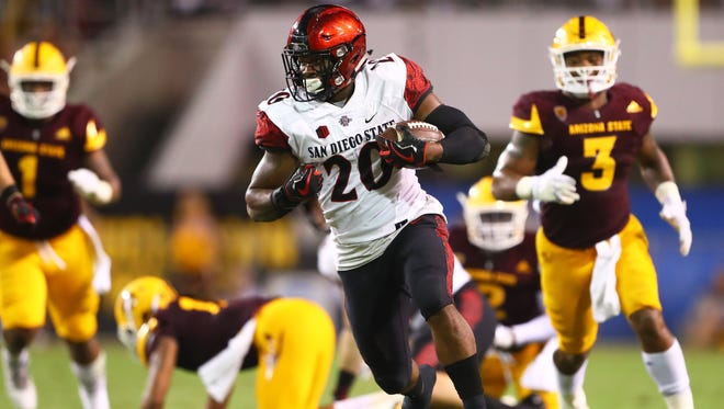Rashaad Penny and San Diego State ran all over Arizona State on Saturday night in a 30-20 win. Penny scored ran for one touchdown, caught a pass for another and returned a kickoff 99 yards for yet another