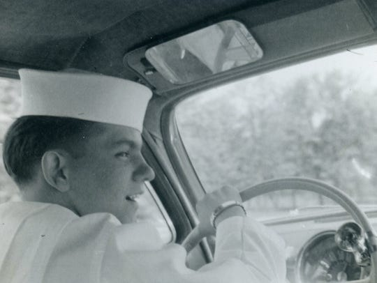Around 1956, Cardwell drives a 1950 white Buick that