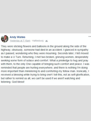 Andy Waites' Facebook post
