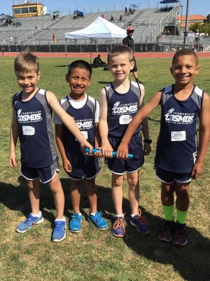 Vincent Pizza, Joey Bueno, Andrew Jones and Benjamin Middleton broke the Camarillo Cosmos' longstanding record for the 4x100 for 8U boys with a time of 67.08 seconds.