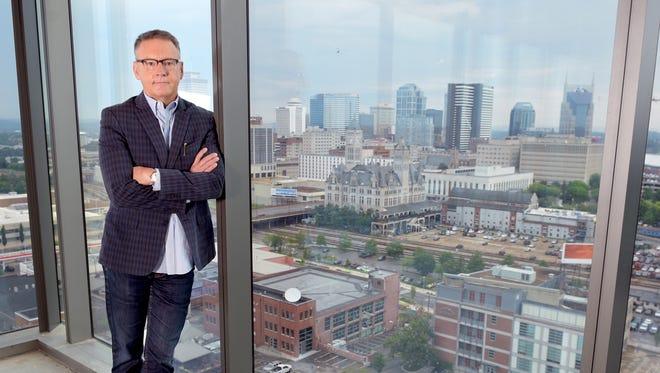 Sony Music Nashville CEO Randy Goodman stand on a corner space of  Sony Music Nashville future headquarters at 1201 Demonbreun Street in the Gulch on Friday July 1, 2016.