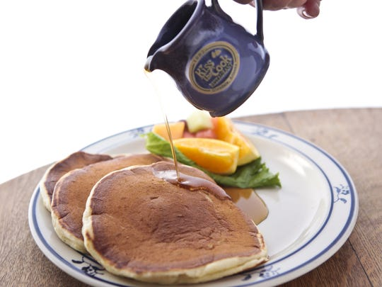 The homemade buttermilk pancakes from Kiss the Cook in Glendale are made from scratch daily. Add berries or bananas for a fruity boost.