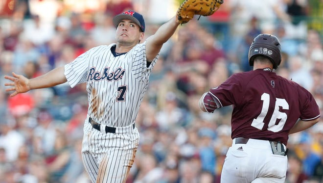 Ole Miss first baseman Nick Fortes (7) feels a sweep at the hands of MSU earlier this season was a bit of a turning point.