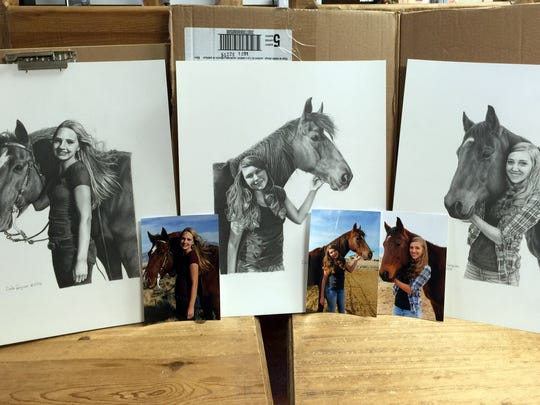 Ferguson's latest work involved portraits of a customer's three daughters and their horses.
