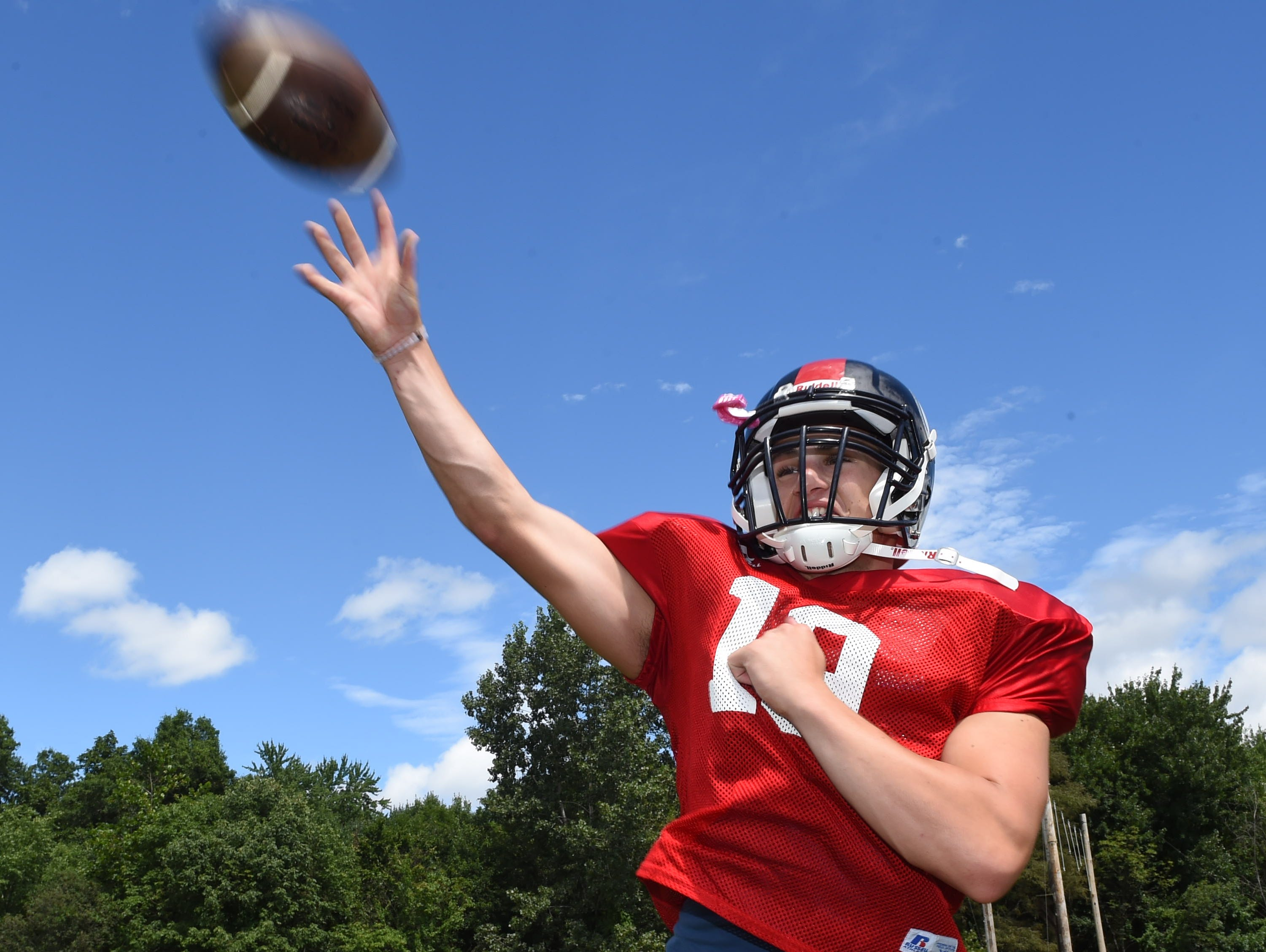 Roy C. Ketcham sophomore Tim Cipollini throws a pass during practice on Wednesday in Wappingers Falls. Ketcham coach Bryan Hogan has not yet decided on his starting quarterback.