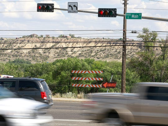 The intersection of Piñon Hills Boulevard and East Main Street is located at one end of the planned  Piñon Hills Boulevard Extension Project.