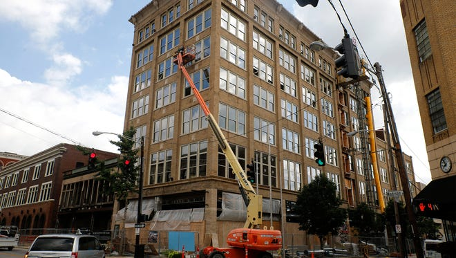 The Hotel Covington, a $20 million project set to open the end of August on Madison Avenue. Built in 1908, the seven-story building housed Coppin Department Store and also served as City Hall.