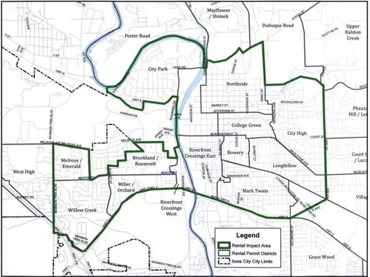 Iowa City staff used longstanding neighborhood boundaries to delineate the boundaries of rental permit districts. After Tuesday's City Council vote, there cannot be more than 30 percent residential rental housing within these boundaries.